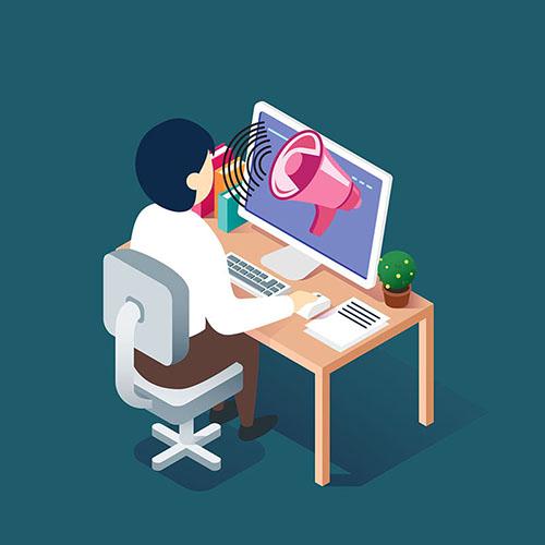 Ilustração de uma pessoa ao computador com um megafone na tela