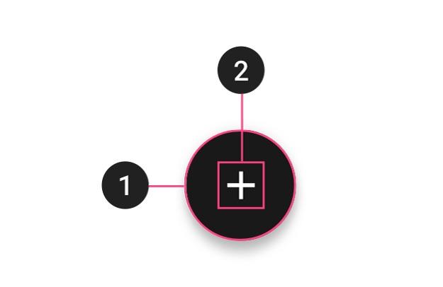 Um FAB regular que consiste de um (1) container e um (2) ícone.