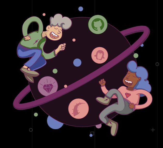 Imagem de um rapaz e uma moça flutuando em volta de um planeta. As logos de Ruby, Rails, GitHub e Linux estão dispostas como satélites.