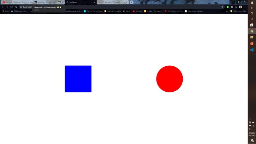 Captura de tela mostrando uma aba de navegador com um quadrado azul e um círculo vermelho, lado a lado, num fundo branco.
