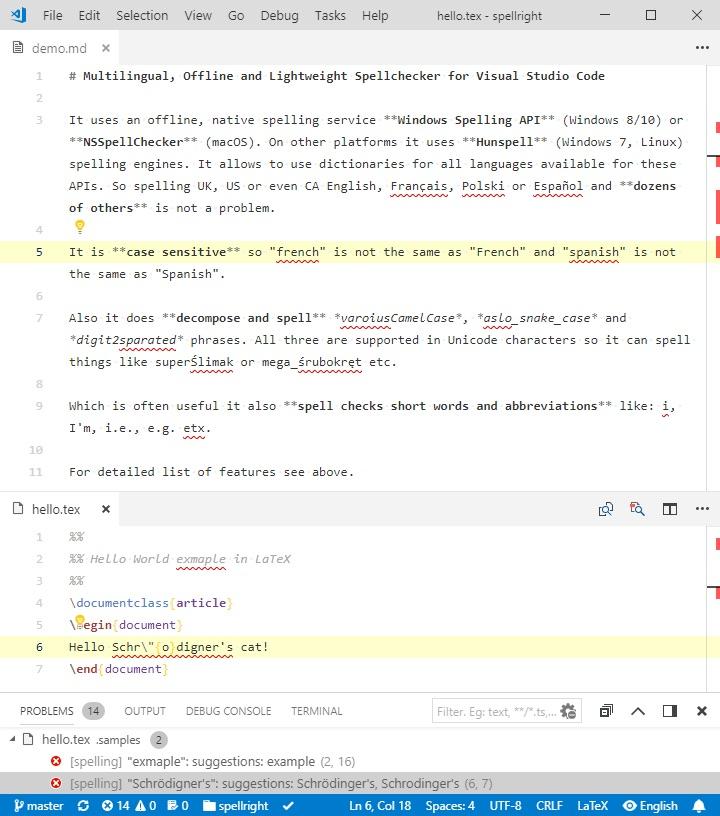 Print de tela com o demo da ativação do corretor no VSCode.
