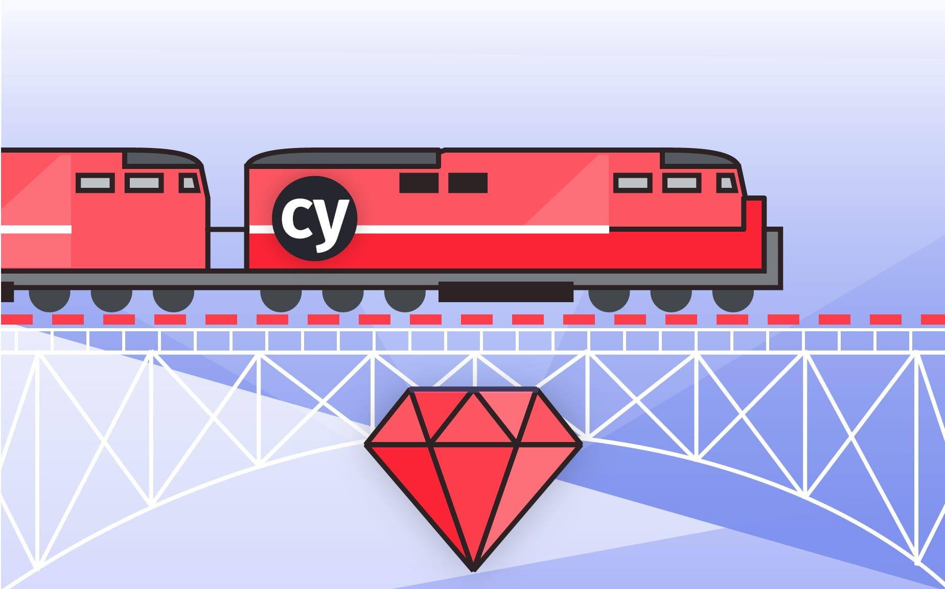 Ilustração de um trem vermelho sob trilhos, e abaixo um rubi.