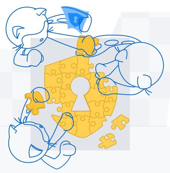 Ilustração de 3 mascotes do GitHub juntando peças de quebra-cabeça e formando o símbolo de segurança.