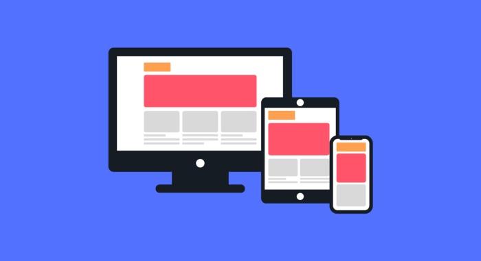 Ilustração mostrando um design responsivo em grid em um monitor, um tablet e um celular.