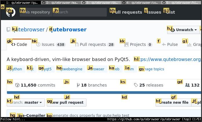 Print de tela do repositório do Qutebrowser, sinalizando os atalhos para navegação.