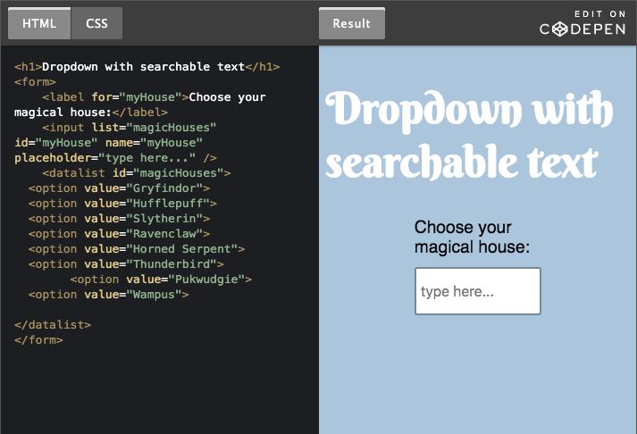 Print de tela com código HTML do lado esquerdo e visualização de dropdown com busca de texto do lado direito.