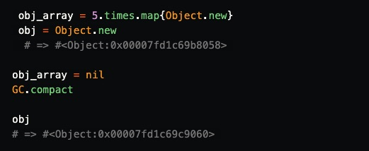 GTrecho de código mostrando o ciclo de um objeto.
