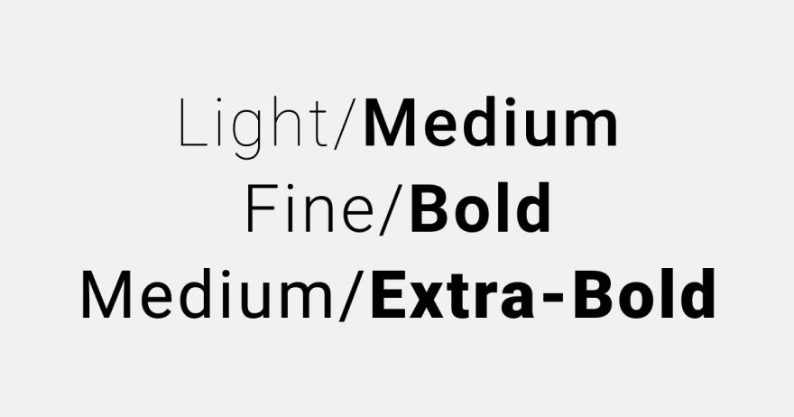 Imagem ilustrando as diferenças entre textos 'light' e 'medium', 'fine' e 'bold' , 'medium' e 'extra-bold'.